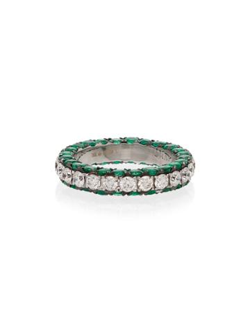 Shay 18kt White Gold, Diamond And Emerald 3 Sided Eternity Ring -