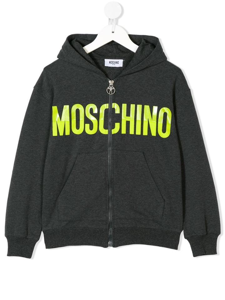 Moschino Kids Teen Logo-print Hoodie - Grey