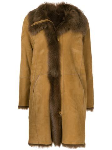 Closed Shearling Coat - Brown