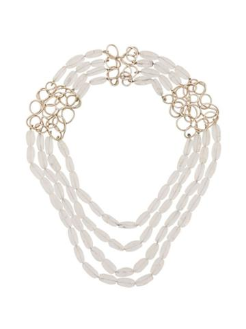 Katheleys Pre-owned Art Crystal Rock Necklace - White