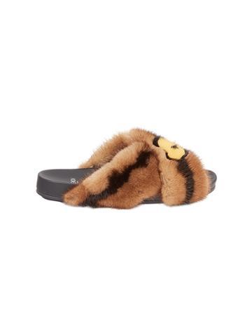Fendi Fur Heart Slides - Brown