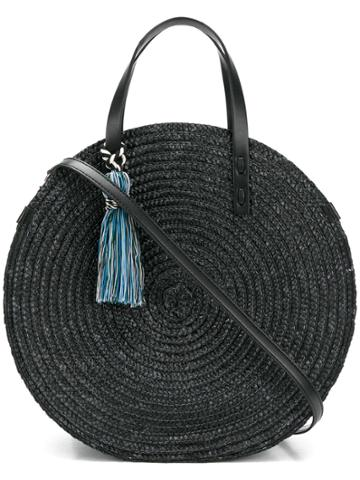 Rebecca Minkoff Tassel Circle Woven Tote Bag - Black