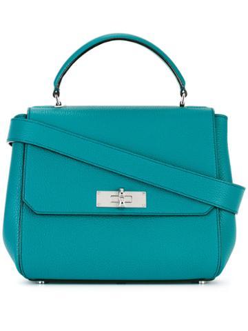 Bally Flip Lock Shoulder Bag, Women's, Blue, Calf Leather