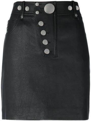 Alexander Wang - Multi Snap Mini Skirt - Women - Lamb Skin/cotton/polyester/spandex/elastane - 6, Black, Lamb Skin/cotton/polyester/spandex/elastane