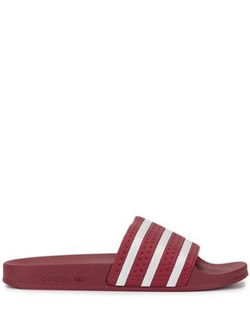 Adidas Adilette Striped Sliders - Red