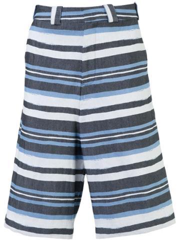 Agi & Sam Striped Shorts, Men's, Size: Large, Blue, Silk/cotton