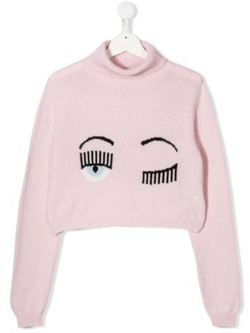 Chiara Ferragni Kids Signature Wink Cropped Jumper - Pink