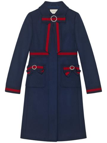 Gucci Wool Coat With Web Bows - Blue