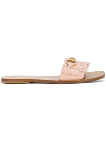 Gucci Fringed Horsebit Slides - Pink