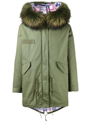 Liska - Short Parka - Unisex - Racoon Fur/rabbit Fur/cotton - M, Green, Racoon Fur/rabbit Fur/cotton