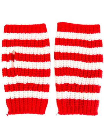 Gucci Fingerless Striped Gloves - Red