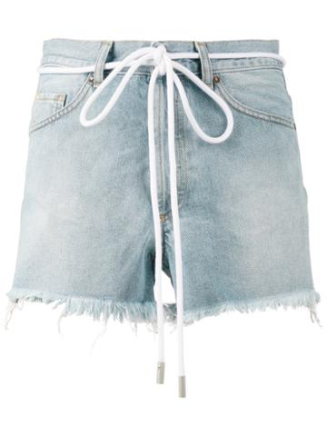 Off-white - Drawstring Cut-off Denim Shorts - Women - Cotton - 29, Blue, Cotton