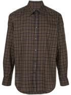 Caban Long-sleeved Plaid Shirt - Purple