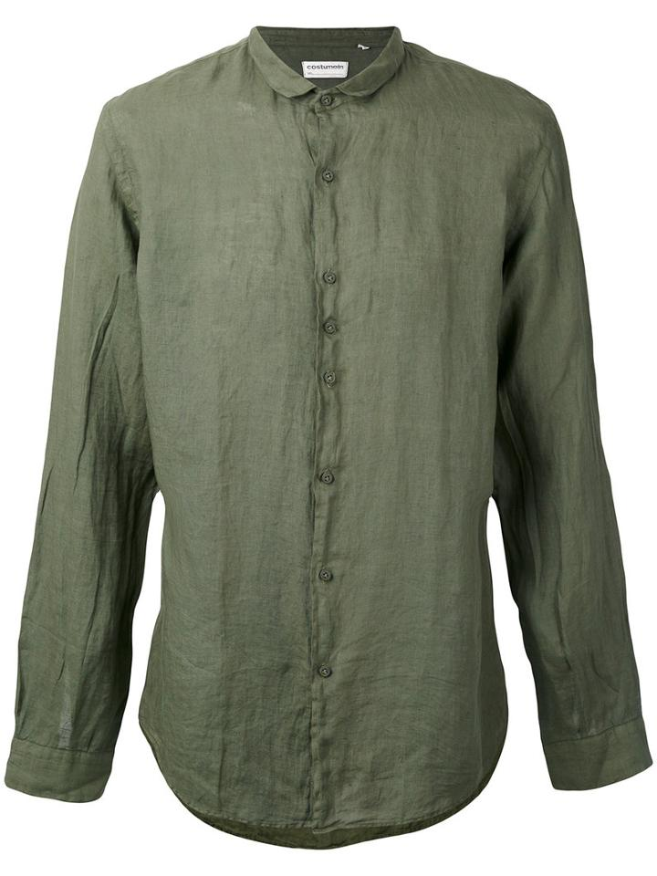 Longsleeve Button-up Shirt - Men - Cotton - 50, Green, Cotton, Costumein