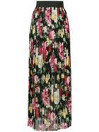 Dolce & Gabbana Pleated Floral Maxi Skirt - Black