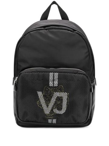 Versace Jeans Couture Mesh Logo Print Backpack - Black