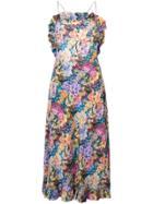 Les Reveries Frilled Floral Halter Dress - Multicolour