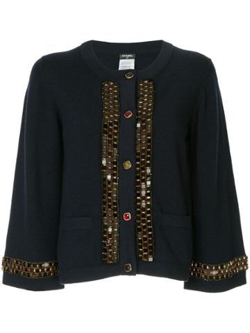 Chanel Vintage Bead Chain Embellished Cardigan - Blue