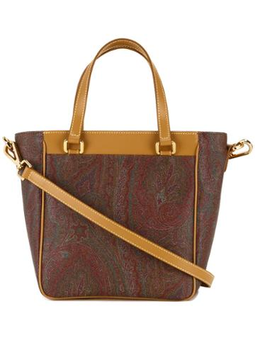 Etro Trapeze Bodied, Paisley Patterned Shoulder Bag, Women's, Calf Leather