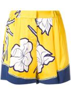 Pinko Floral Print Shorts - Yellow