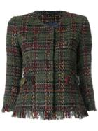 Tagliatore Cropped Tweed Jacket - Green