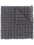 Fay Houndstooth Knit Scarf - Blue