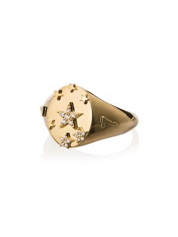 Foundrae Yellow Gold Seven Stars Diamond Signet Ring - Metallic