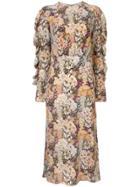 Les Reveries Long Floral Print Silk Dress - Multicolour