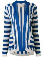 Laneus Striped Cardigan - Blue