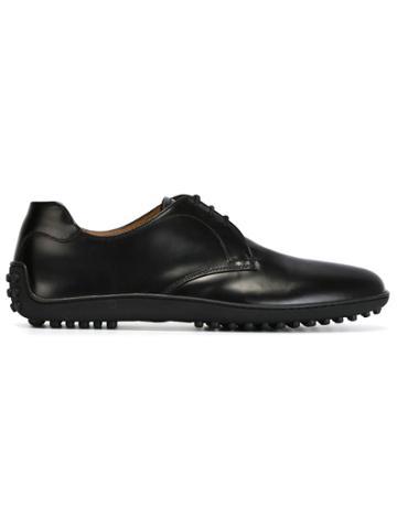 Car Shoe Rubber Sole Derby Shoes - Black