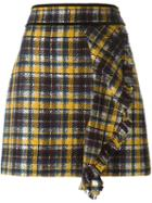 Msgm Front Ruffle Checked Skirt