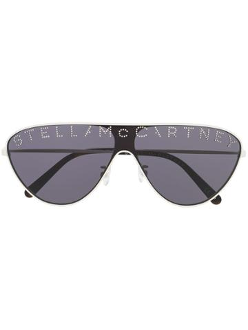 Stella Mccartney Eyewear Logo Embellished Sunglasses - Neutrals