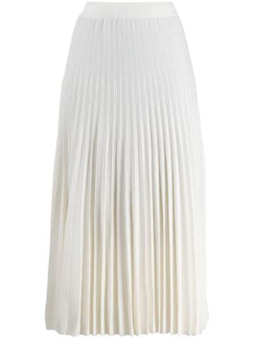 Agnona Pleated Midi Skirt - White