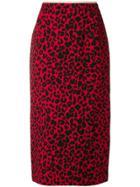 No21 Leopard Print Pencil Skirt - Red