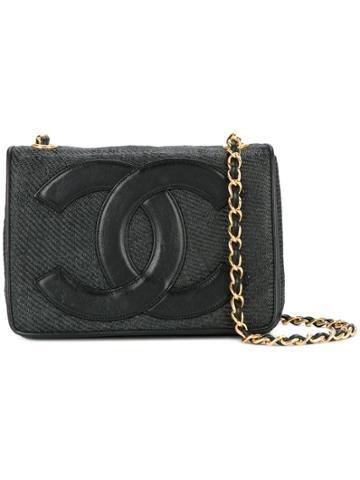 Chanel Vintage Logo Patch Shoulder Bag - Black