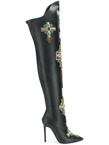 Versace Embellished Knee Boots - Black
