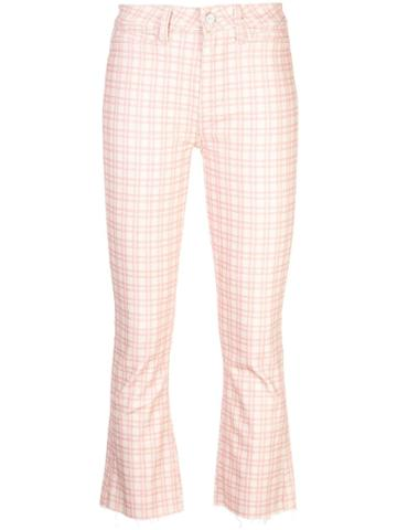 Paige Mini Flare Checked Trousers - Pink