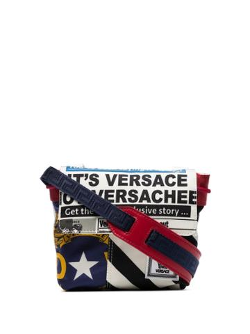 Versace Red, White And Blue Flag Print Drawstring Cross Body Bag -