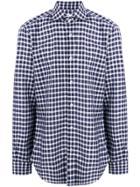Barba Checked Print Longsleeved Shirt - Blue