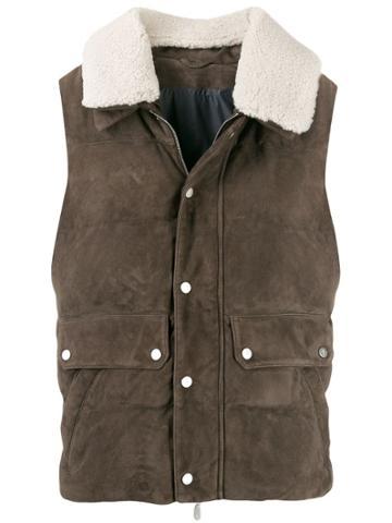 Eleventy Shearling Collar Gilet - Brown