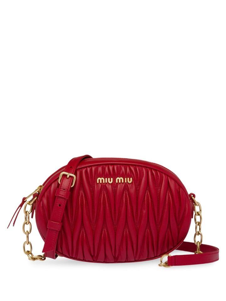 Miu Miu Oval Matelassé Shoulder Bag - Red