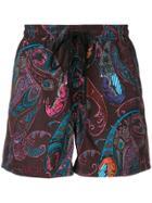 Etro Paisley Print Swim Shorts - Brown