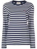Maison Kitsuné Striped Logo Embroidered Top - Blue