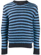 Prada Striped Knit Sweater - Blue