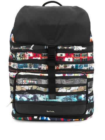 Paul Smith Stripe Print Backpack - Black