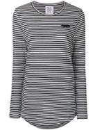 Zoe Karssen Embroidered Striped Top - Black