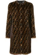 Fendi Ff Fur Coat - Brown
