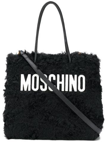 Moschino Medium Textured Logo Tote - Black