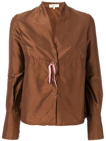 Romeo Gigli Vintage V-neck Shirt - Brown