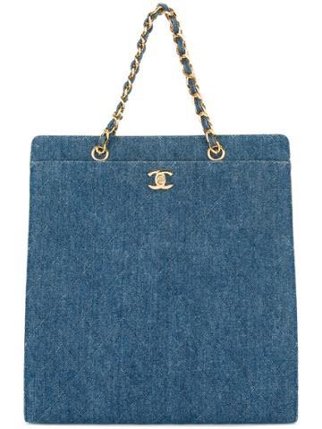 Chanel Vintage Denim Turn-lock Tote Bag - Blue